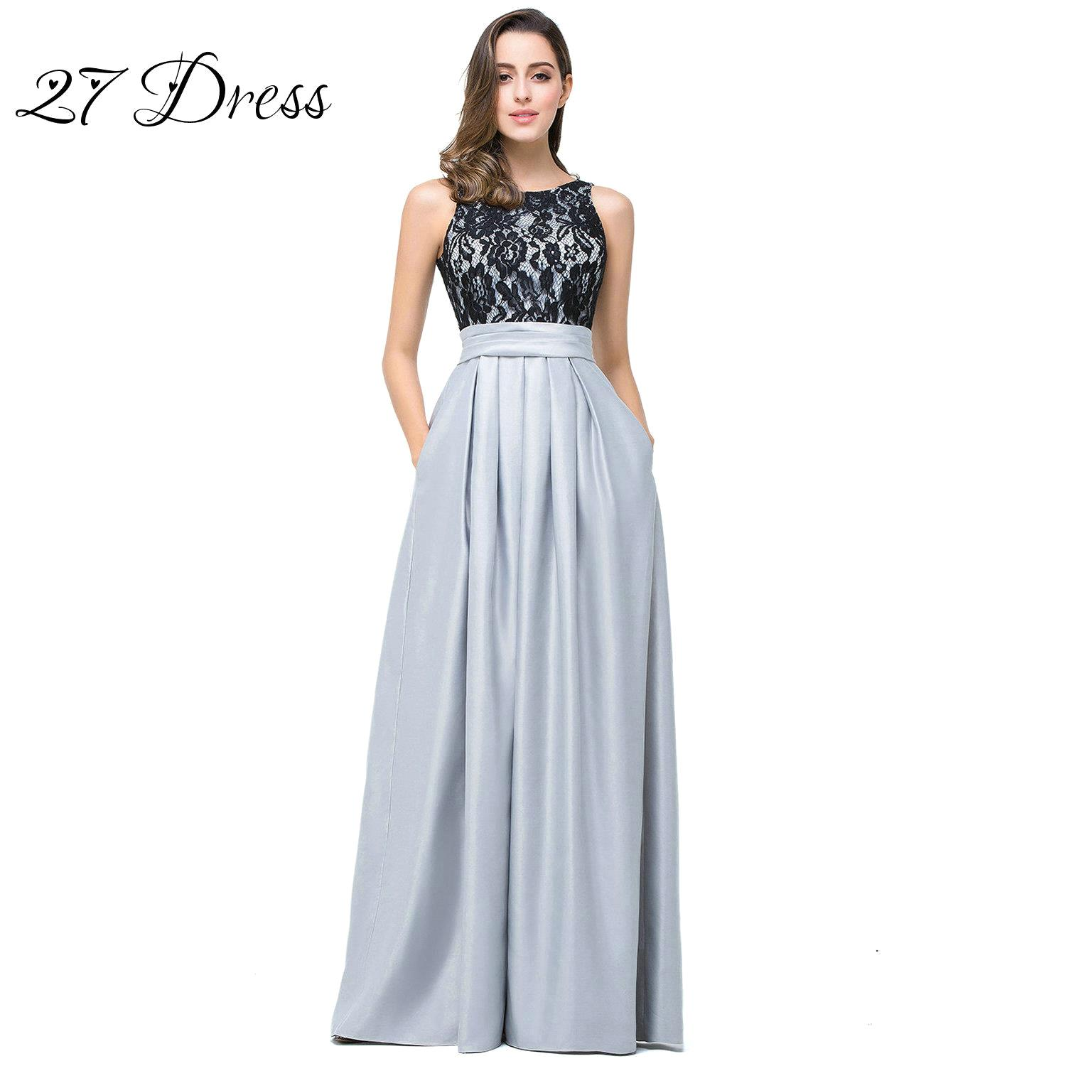 Online get cheap long lace bridesmaid dresses silver aliexpress modest silver bridesmaid dresses 2017 long a line lace top satin formal robe demoiselle d ombrellifo Image collections