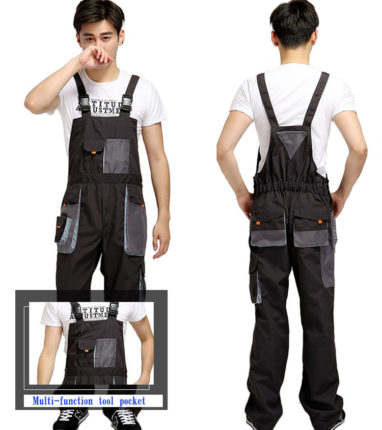 Work Wear Bib Overalls Men Coveralls Protective Repairman Strap Jumpsuits Pants Working Uniforms Plus Size Sleeveless Coverall