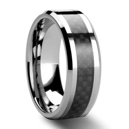 Black Carbon Fiber Tungsten Carbide Ring Mens Wedding Band Size selectable (#NR05BC) black tungsten carbide with dark wood inlay mens wedding ring