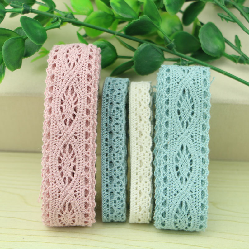 все цены на  5 yard lot woven cotton lace trim DIY sewing curtain craft decoration baby blue baby pink cotton trim lace ribbon