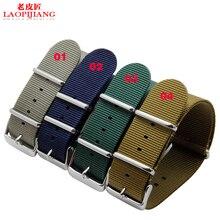 Laopijiang Suave impermeable y transpirable de nylon correa de accesorios de moda 24 MM mesa para hombres y mujeres