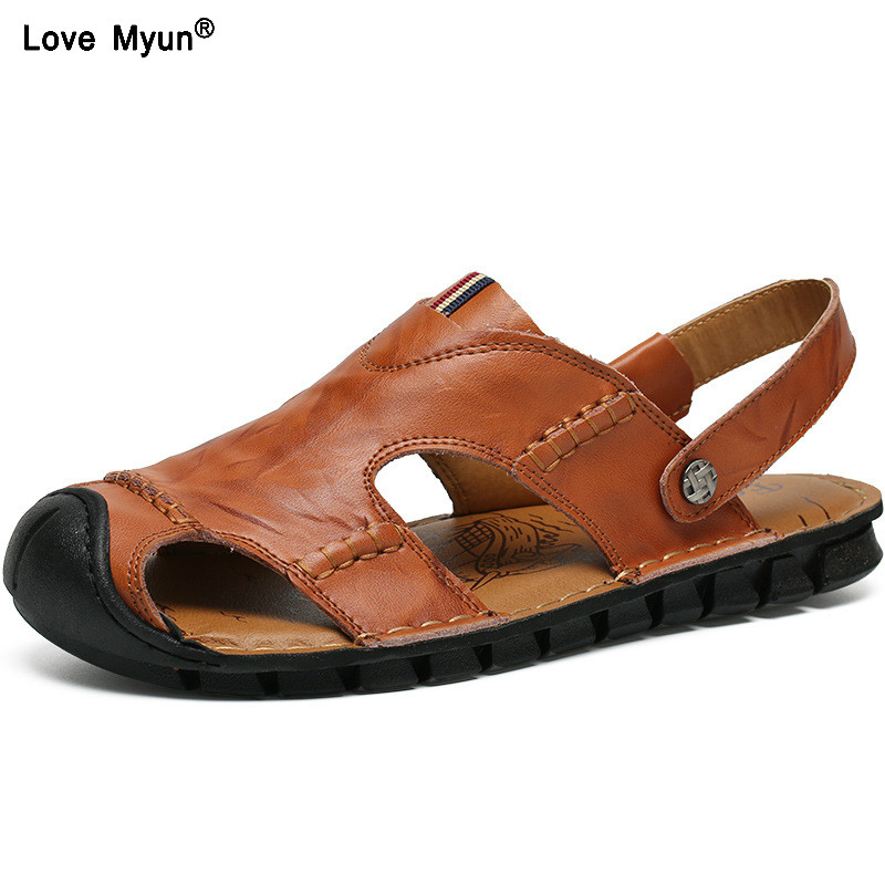 Cow Split Leather Men Sandals waterproof Summer Flats Shoes Korean Version Daily Breathable Feet Lazy Casual Sandals