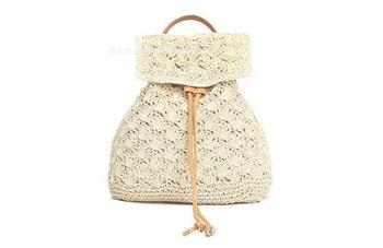bucket shaped straw tote bag 2020 Straw Backpack Drawstring Straw Bag Hollow Out School Bag Knitting Backpacks Manual Made Tote Beautiful Beach Backpack