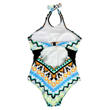 Multicolor One Piece Vintage Retro Backless Monokini Swimwear