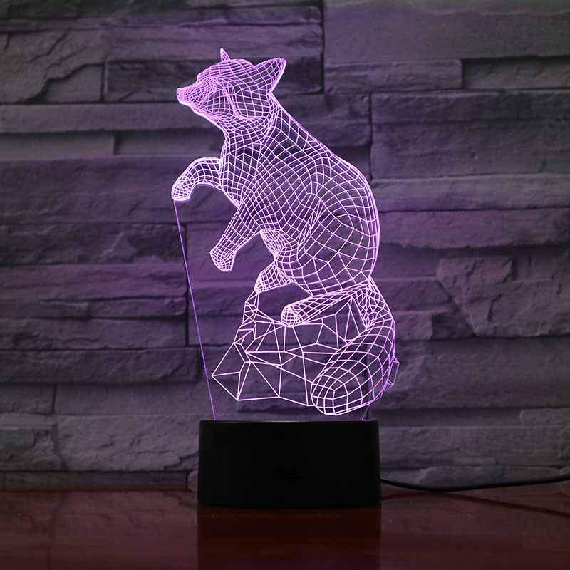 Animal Raccoon Led Night Light Touch Sensor 7 Color Changing Decorative Lamp Child Kids Baby Kit Nightlight Raccoon 3D Lamp