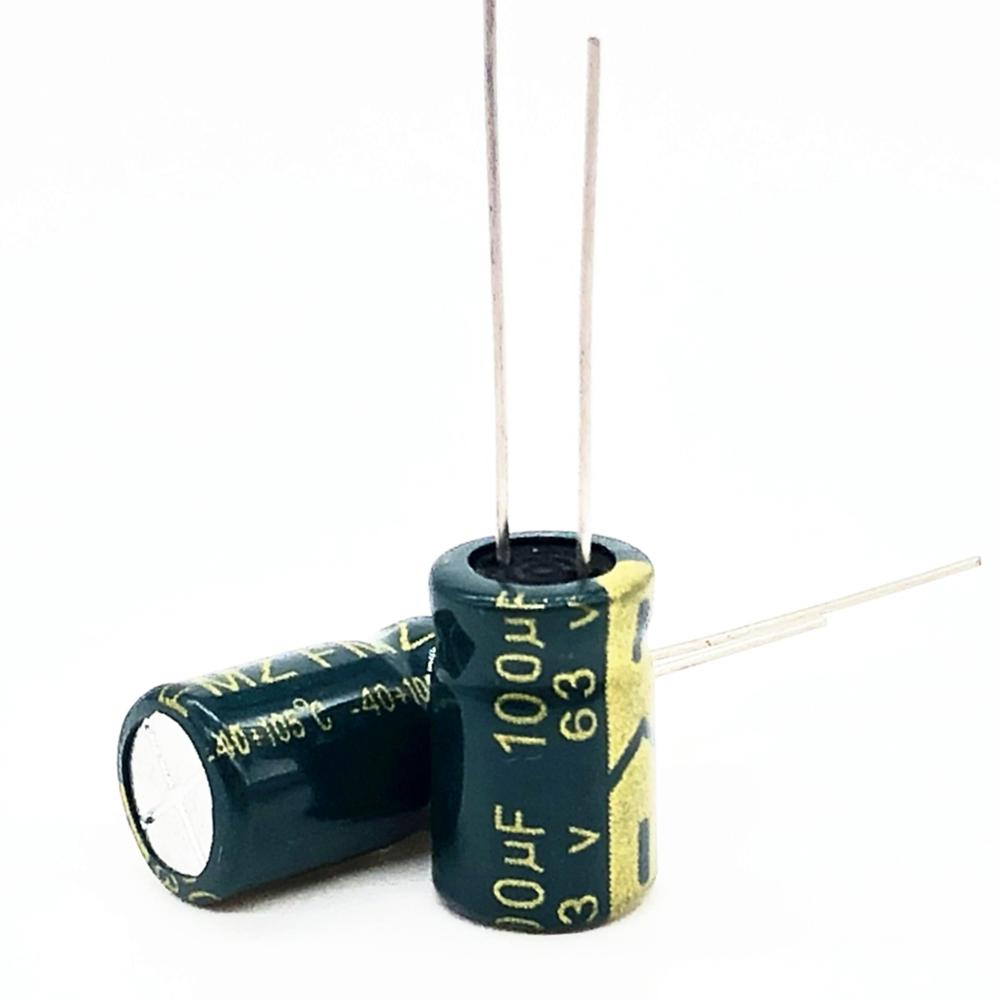 63V 100UF 8*14 High Frequency Low Impedance Aluminum Electrolytic Capacitor 100uf 63V 20%