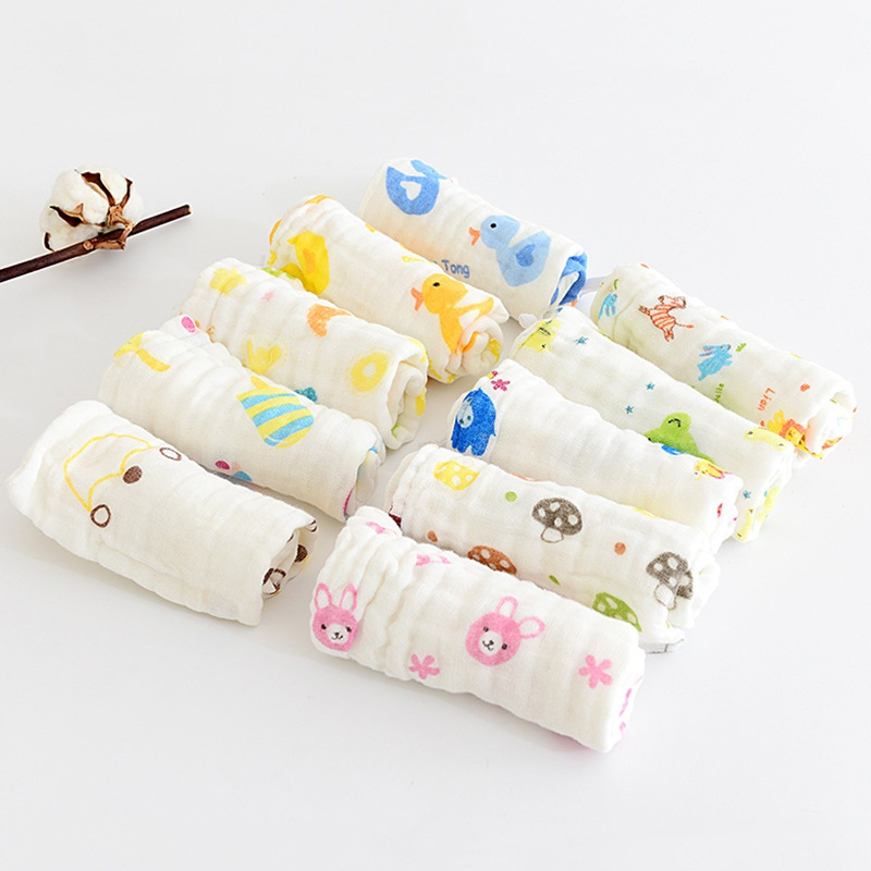 Newborn Baby Boy Girl Towel Bibs Six-layer Gauze Cartoon Print Children Cotton Handkerchief  Soft Face Towel Saliva Towel