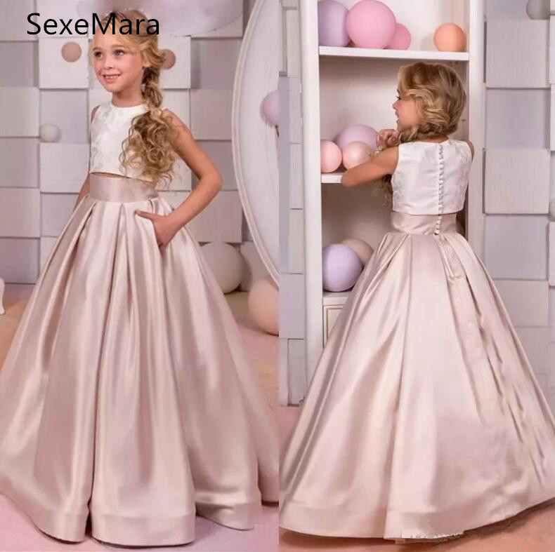 Blush Pink Two Pieces Kids Prom Birthday Party Pageant Dress O Neck Satin Lace Flower Girls Dresses for Wedding Custom Made Gown blush pink two pieces kids prom birthday party pageant dress o neck satin lace flower girls dresses for wedding custom made gown