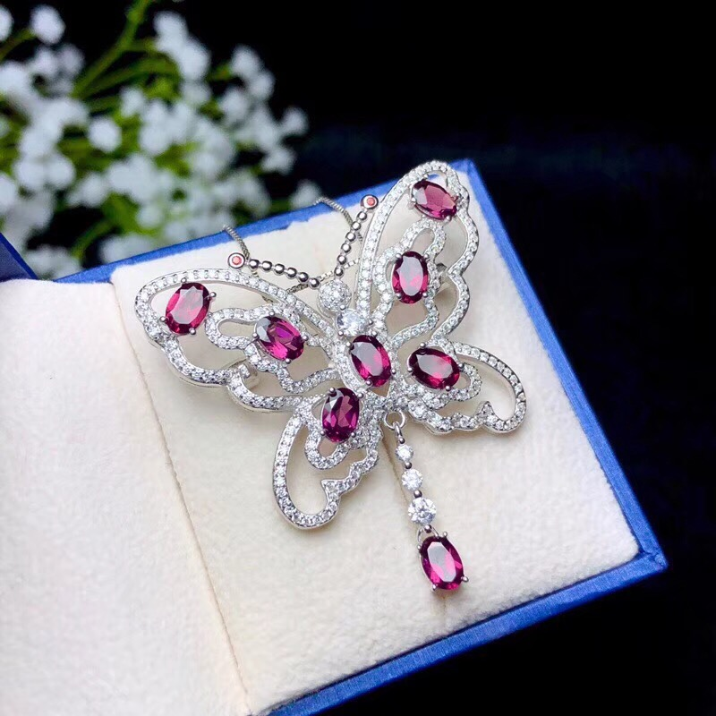 Uloveido Red Ruby Gemstone Butterfly Pendant Necklace Women 925 Sterling Silver Gemstone Necklace Pendant for Girls