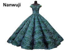 Real Photo Boat -neck  Beaded Ball Gown Evening Dress Luxury Lace up back Cap Sleeve Prom Dresses Crystal Size Plus
