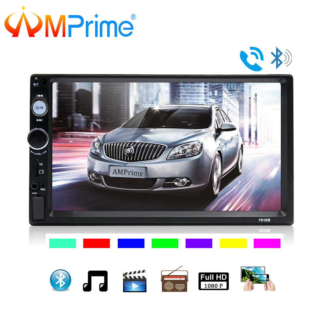 AMPrime 7010B 2 Din Car Video Player 7'' HD Touch Screen Bluetooth FM Radio Car MP5 Player Support Mirrorlink Rear View Camera hikity 7010b 2 din car radio 7 hd touch screen mp5 multimedia player bluetooth mirrorlink audio stereo support rear view cam