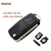 OkeyTech for VW Remote Control Key Flip 2 Button 434MHz ID48 Chip for VW Volkswagen Bora Polo Golf MK4 Remote Key 1J0 959 753 AG