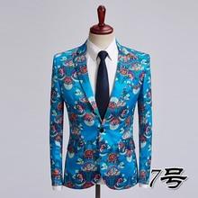 Loldeal Men's Luxury Casual Dress Floral Suit Notched Lapel Slim Fit Stylish Blazer Jacket Party Coats floral printed lapel mens casual blazer