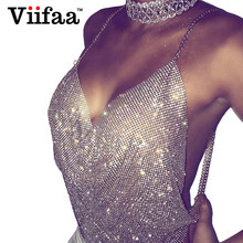 Viifaa Shining Rhinestone Attractive Girls Crop Prime 2017 Summer time Silver Metallic Camisole Low-Lower Occasion Tank Prime Halter Crop Tops