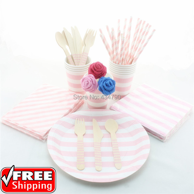 193 pieces/lot Pink Striped Paper StrawsTreat BagsCupsPlates  sc 1 st  AliExpress.com & 193 pieces/lot Pink Striped Paper StrawsTreat BagsCupsPlates ...