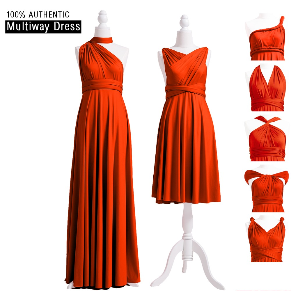 Burnt Orange   Bridesmaid     Dress   Multi way   Dress   Infinity Long   Dress   Convertible Maxi Wrap   Dress   With Halter One Shoulder Styles