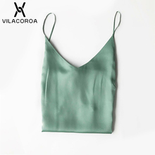 Plus Size Halter Top Women Camisole Camis Sexy Sleeveless V Neck Top Tank Ladies Lingerie Silk Vest Women 5% Silk Charmeu