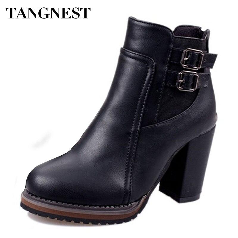 1d268543a Tangnest أزياء النساء حذاء من الجلد 2018 جديد بو الجلود مشبك الخريف الأحذية  الإناث عالية الكعب مضخات الأحذية امرأة XWX3112