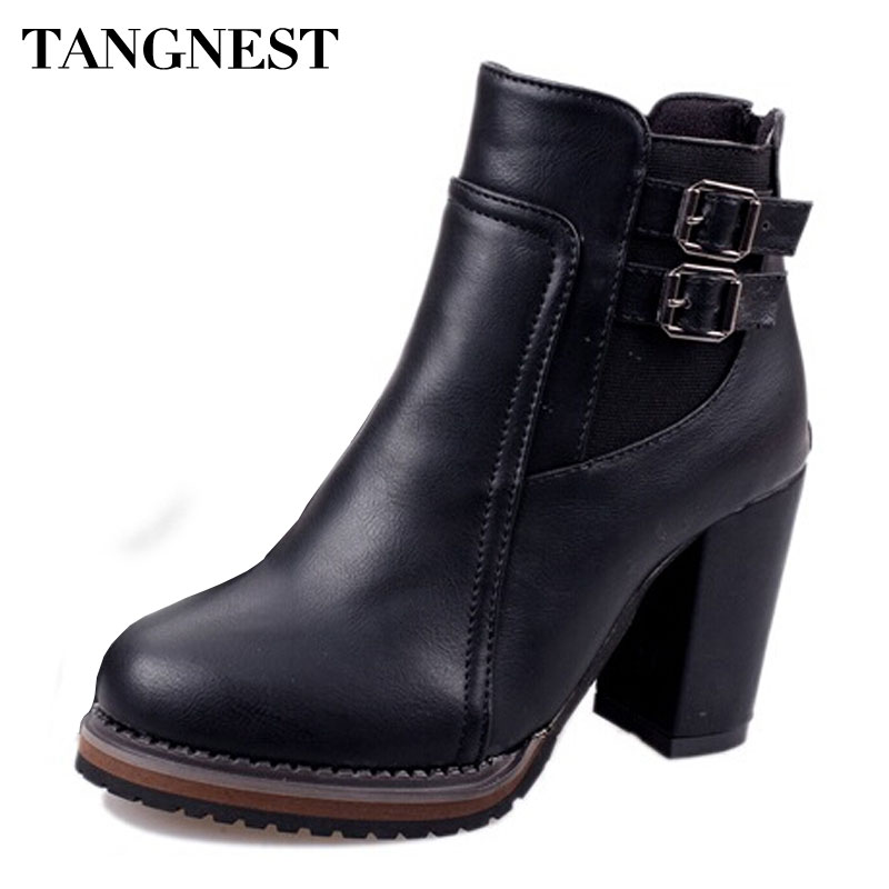 Tangnest Fashion Women Ankle Boots 2018 New PU Leather Buckle Autumn Boots Female High Heels Pumps Shoes Woman XWX3112