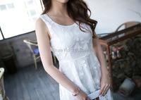 10pcs/lot Fashion White Women Chiffon Lace Shift Dress Crochet Hem Vestidos Sleeveless Dress Vestidos Femininos Femme