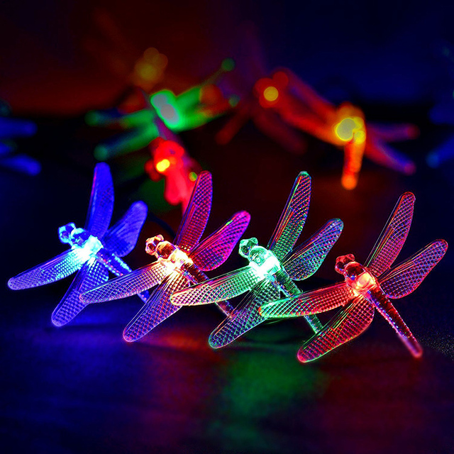 5m 20 dragonfly leds string lights outdoor party christmas holiday halloween party wedding holiday garden decoration