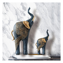 2PCS European Style Resin Elephant Crafts Animal Ornaments Creative Home Furnishing Decoration Auspicious Wedding Gift Ornament