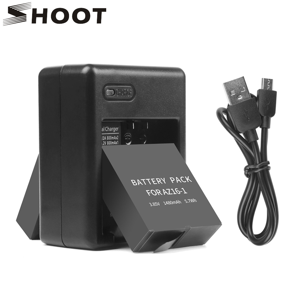SHOOT 2pcs 1480mAh Battery Pack For Xiaomi Yi Lite 4k 4k+ Action Camera With Dual Port Battery Charger For Yi 4k Accessory Kits