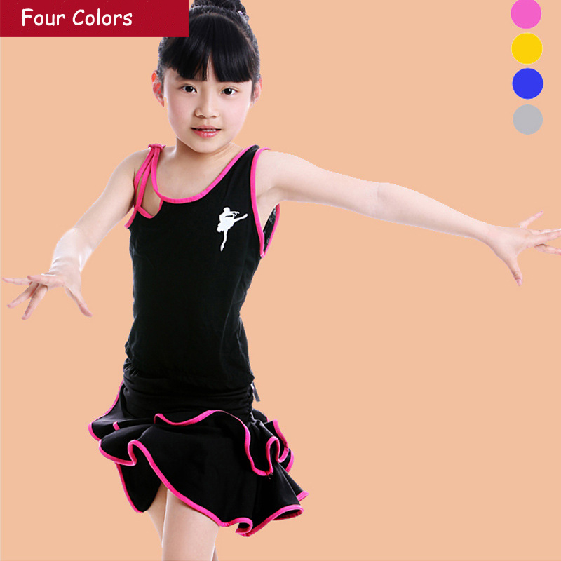 Free shipping Girls Kids Dance Skirt Set Children Tango Samba Salsa Latin Dance Dress Toddler Leotard Dancing Clothing Costume