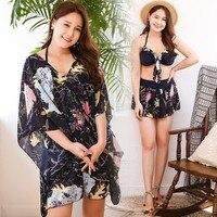 Summer Swimwear For Women Plus Size Three Piece Sets Push Up Brazilian Bikinis High Neck Bandeau