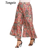 Tengeio Women Floral Boho Pants Plus Size 2017 Summer Bohemian Style High Waist Long Culottes Wide