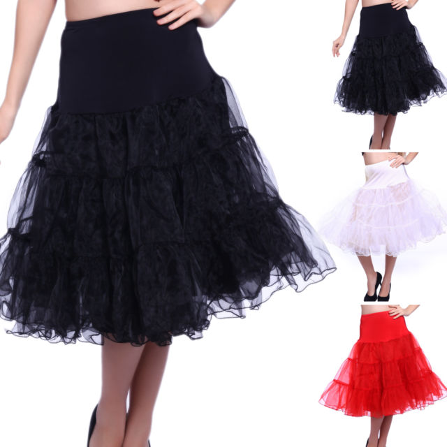 Black Red White 65cm Rockabilly Long Petticoat Tulle Costume Underskirt
