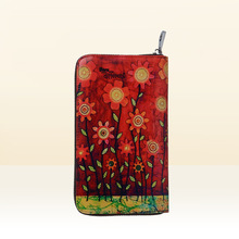 2017 Fashion Women Genuine Leather Lovely Sun Flower Freehand Painting Bag Wallet Card Money Holder Clutch Wallets Phone Pocket
