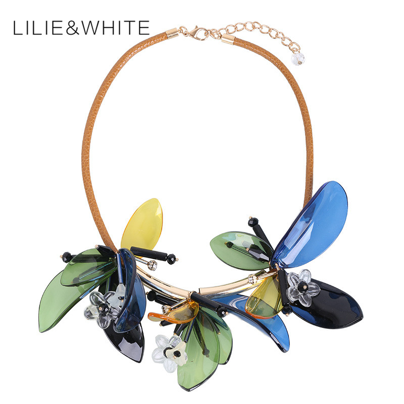 Cool Shine 2017 Elegant Bijoux Femme Flower Beads Choker Necklace Collar Necklace Leather Chain Statement Necklace