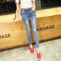 Nonis Women 2018 Spring New Casual Pencil Pants Ripped Paint Points Ankle length Jeans Female Skinny Slim Capris