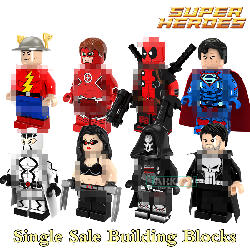 1pc Building Blocks Punisher Deadpool White Ghost Death Laura Red Flash Figures Super Heroes Action Bricks Kids DIY Toys PG8063