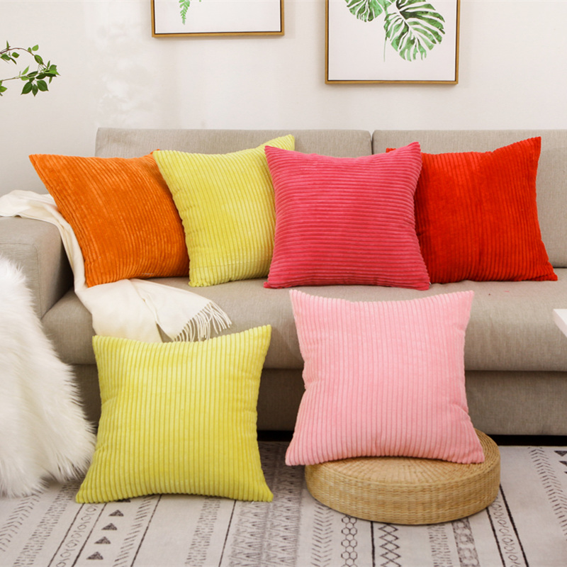 Cojin <font><b>50x50</b></font> Solid Color Cushion Cover Velvet Corduroy Pillow Cover Sofa Car Throw <font><b>Pillowcase</b></font> Bedroom Home Decor Almofada image