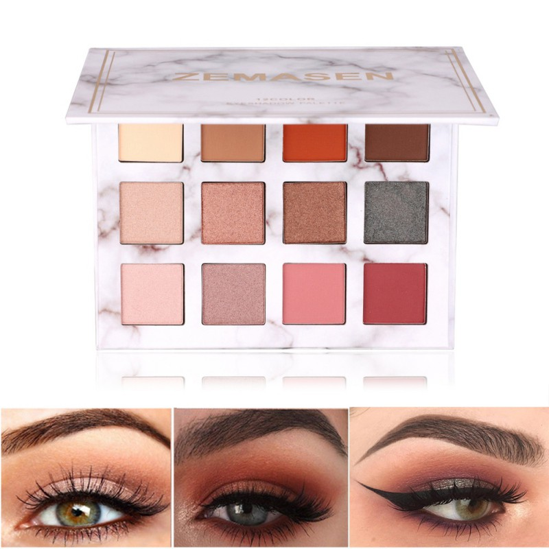Hot Cosmetics Gift Natural Fashion Exquisite Marble Waterproof Long-lasting Eye Shadow Palette 12 Color Eyeshadow