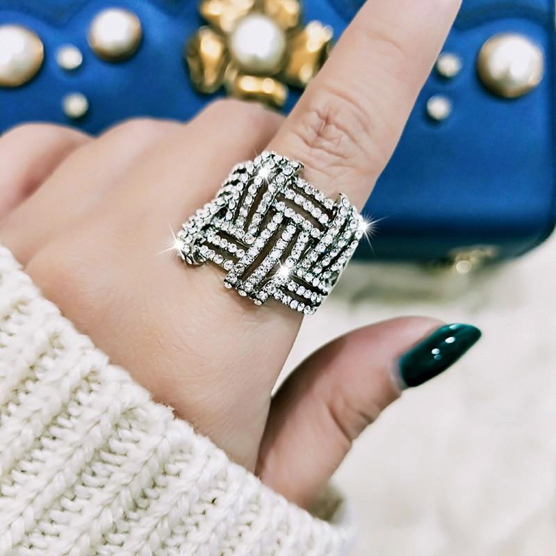 SINLEERY Balta aukso spalva Micro Paveduota kristalų žiedai - Mados papuošalai