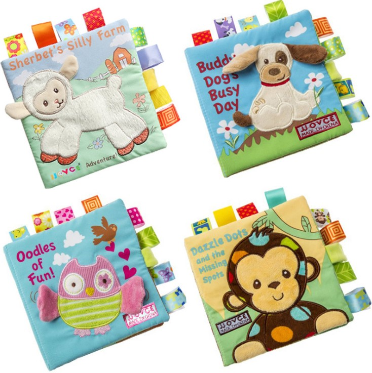 Candice Guo Soft Baby Cloth Book Sheep Lamb Dog Owl Monkey Happy Family Relationship Baby Bed Sleeping Story Birthday Gift 1pc Home