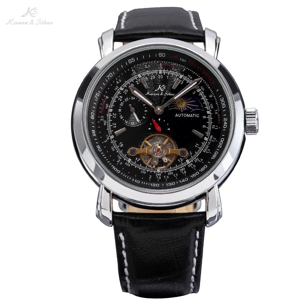цена  KS Tourbillon Black Dial Moon & Sun Automatic Mechanical Genuine Stainless Steel Case Dress Men's Leather Strap Watch/ KS068  онлайн в 2017 году