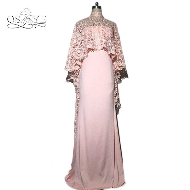Caftan Dubai Robe de soirée avec Cape en dentelle 2016 arabie saoudite robes formelles moyen-orient femmes Robe de soirée robes de bal