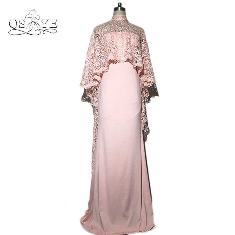 Kaftan Dubai Evening Dress with Lace Cape 2016 Saudi Arabia Formal Dresses Middle East Women Prom Gowns Robe de Soiree
