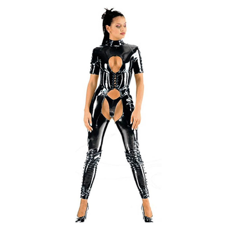 Women Short Sleeve Sexy Shiny PVC Catsuit Open Crotch PU Jumpsuit Bondage Slim Crotchless Body Suits Fetish Costume