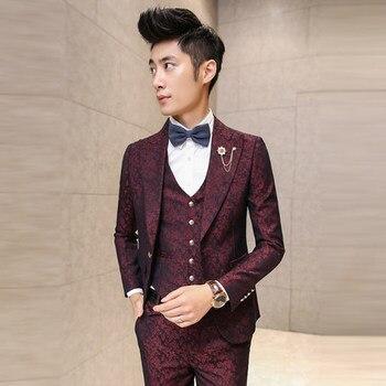 Prom Men Suit With Pants Red Floral Jacquard Wedding Suits for Men 3 Pieces Set (Jacket+vest+pants) Korean Slim Fit Dress 13