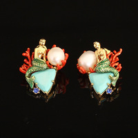 France Les Nereides Enamel Glaze Copper Pleated New Trendy Natural Pearl Mermaid Women Earring Stud