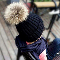Capó 2016 Bebé Del Sombrero Del Invierno de la Gorrita Tejida Sombreros con Lanas de la Piel de Punto sombrero Con Pompón De Piel Cap Niños gorros sombreros de Punto Caliente WH003-C-S-N