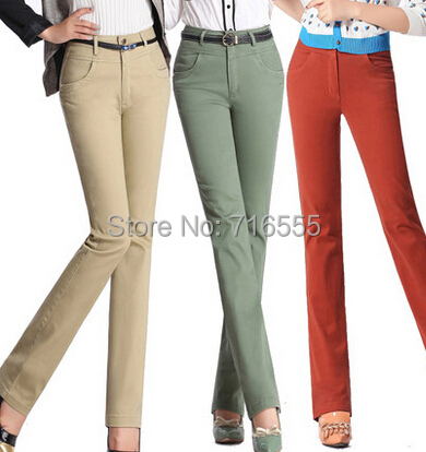 free shipping autumn spring cotton high waist full length women casual pants straight slim plus size female trousers jjl0401