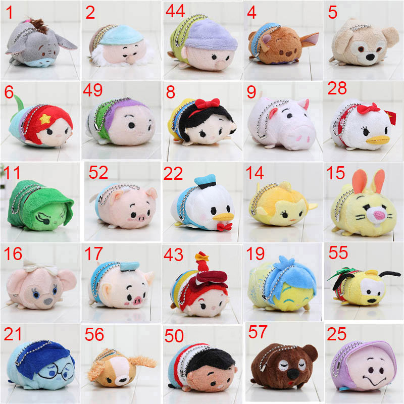 7-9cm Tsum Plush Toy Doll Cute Screen Cleaner Plush Toy Juguetes Snow White Mermaid Cinderella Bear Pig Dog Stuffed Animals