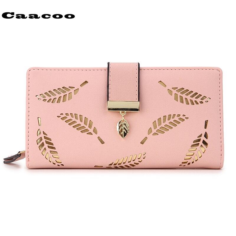carteras mujer Women Wallets Wallet Leather Clutch Women Card Holder Purse Lady Long Hand bag purse female Leaf Bifold