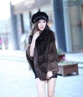warm mink fur shawl ladies knitted cape with genuine fur, Luxury pineapple style autumn winter K212